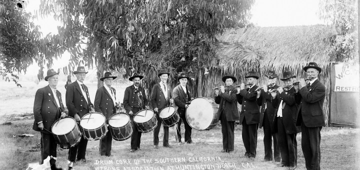 SCVA Drum Corps at Huntington Beach, photo courtesy Orange County Archives.
