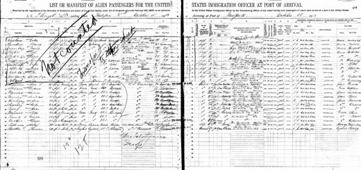 SS Florizel passenger manifest, New York, 18 October 1913, p. 170–71 by Volturno History, on Flickr. CC Image, Some rights reserved