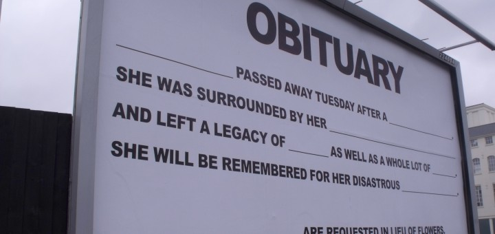 48Sheet billboard art project - Birmingham - High Street Deritend - Digbeth - Obituary by ell brown, on Flickr. CC Image, Some rights reserved
